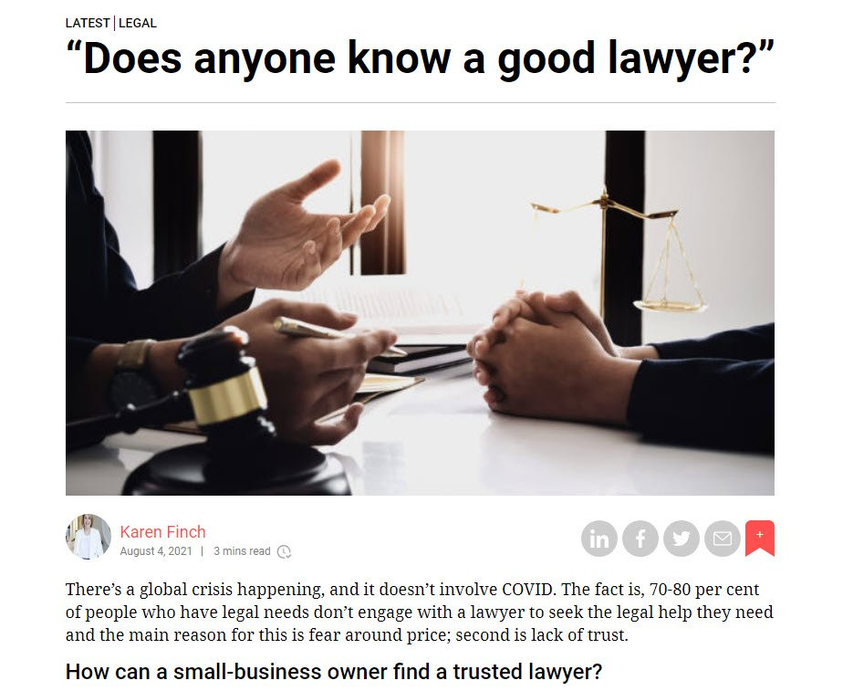 Does Anyone Know a Good Lawyer by Karen Finch